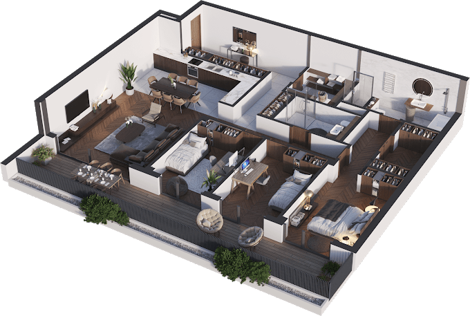 Planning of the apartment 4-bedroom apartments, 142.03 in Namai Vake, Tbilisi