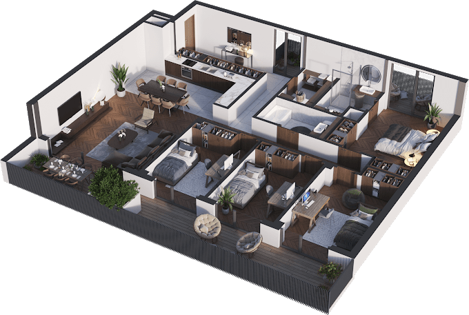 Planning of the apartment 5-bedroom apartments, 142.43 in Namai Vake, Tbilisi