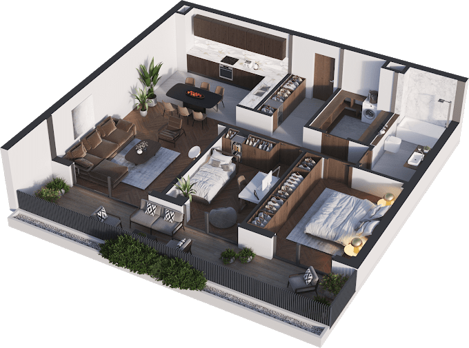 Planning of the apartment 3-bedroom apartments, 92.95 in Namai Vake, Tbilisi