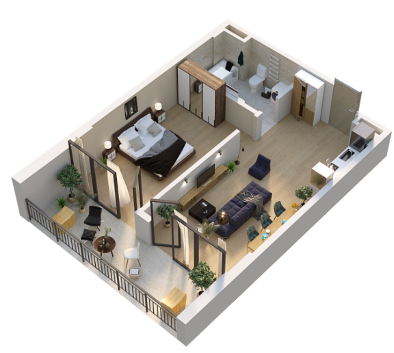 Planning of the apartment 2-bedroom apartments, 54.75 in Your Home, Tbilisi