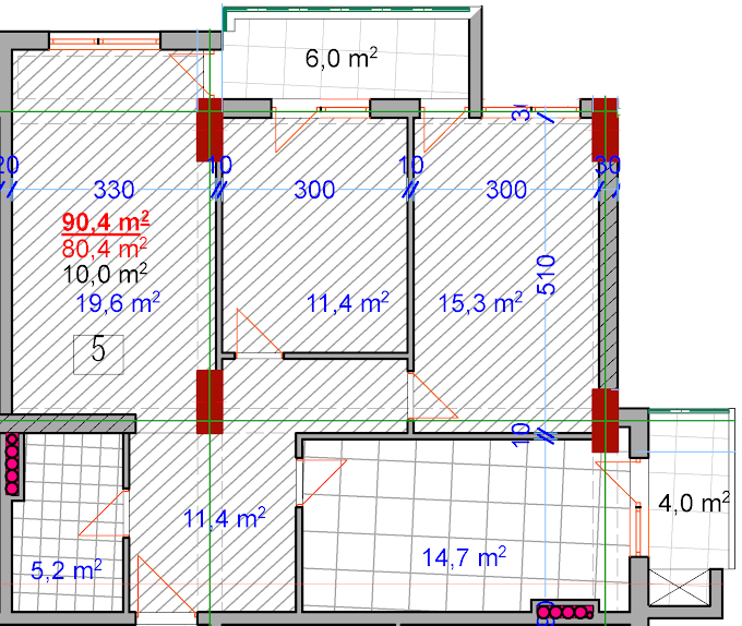 Planning of the apartment 3-bedroom apartments, 90.4 in House on Vasadze 2, Tbilisi