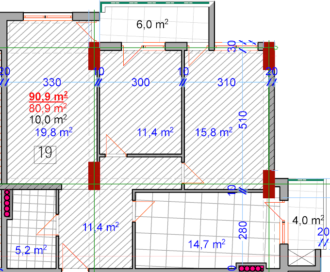 Planning of the apartment 3-bedroom apartments, 90.9 in House on Vasadze 2, Tbilisi