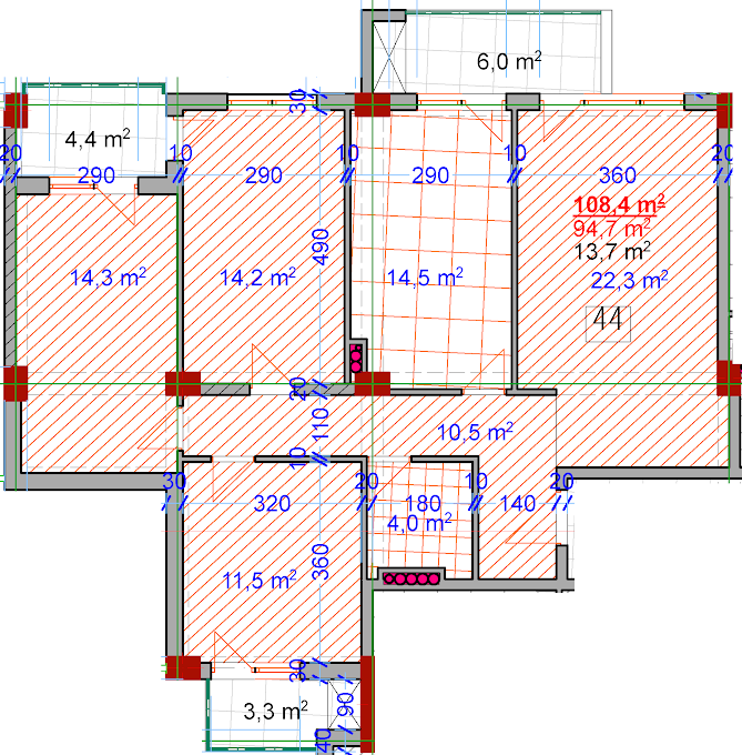 Planning of the apartment 4-bedroom apartments, 108.4 in House on Vasadze 2, Tbilisi