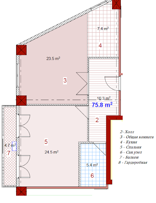 Planning of the apartment 2-bedroom apartments, 75.8 in House on Paichadze, Tbilisi