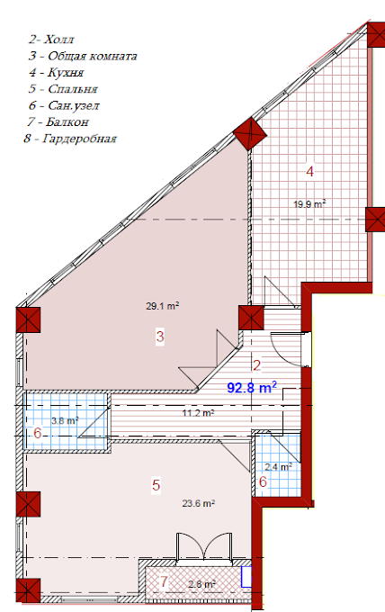Planning of the apartment 2-bedroom apartments, 92.8 in House on Paichadze, Tbilisi