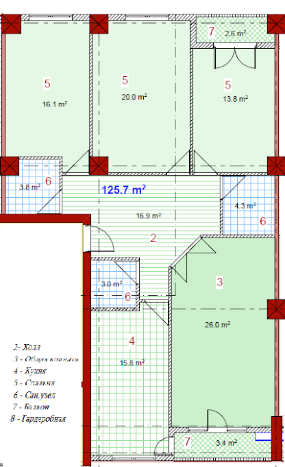 Planning of the apartment 4-bedroom apartments, 125.7 in House on Paichadze, Tbilisi