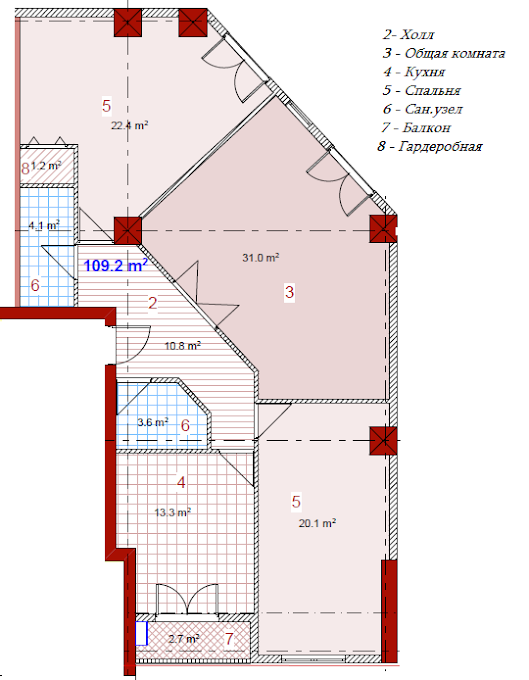 Planning of the apartment 3-bedroom apartments, 109.2 in House on Paichadze, Tbilisi