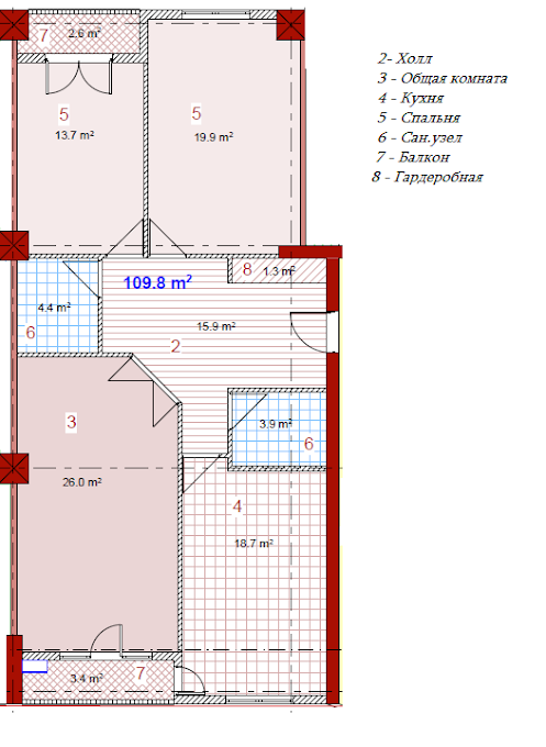 Planning of the apartment 3-bedroom apartments, 109.8 in House on Paichadze, Tbilisi