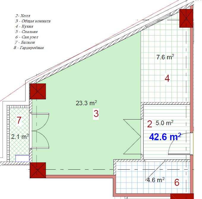 Planning of the apartment Studios, 42.6 in House on Paichadze, Tbilisi