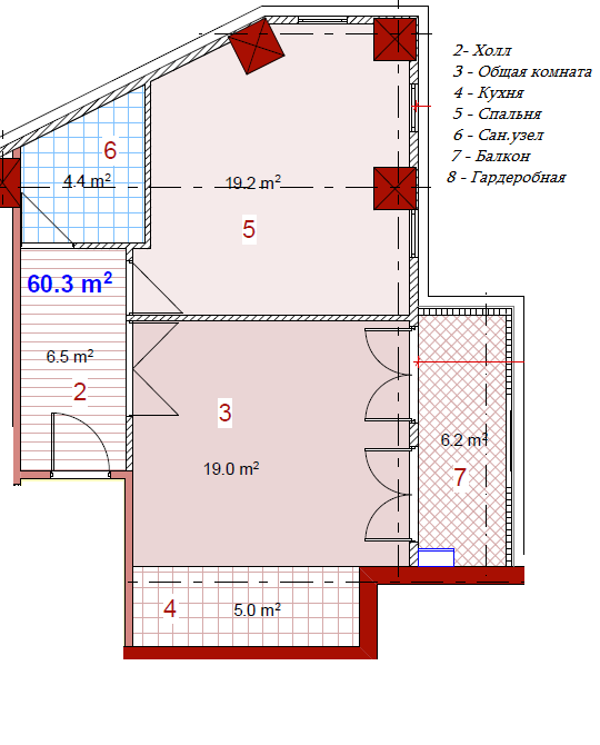 Planning of the apartment 2-bedroom apartments, 60.3 in House on Paichadze, Tbilisi