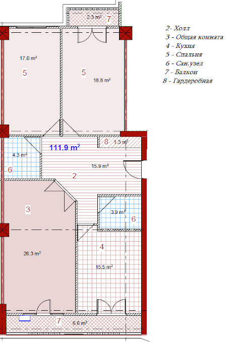 Planning of the apartment 3-bedroom apartments, 111.9 in House on Paichadze, Tbilisi