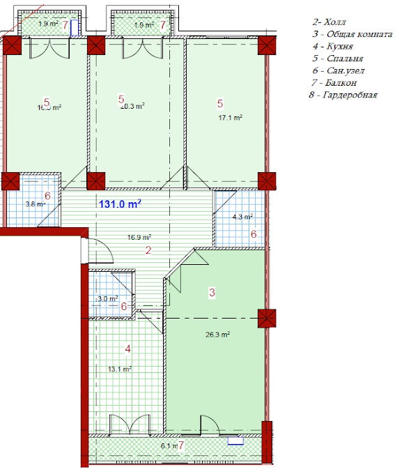 Planning of the apartment 3-bedroom apartments, 131 in House on Paichadze, Tbilisi