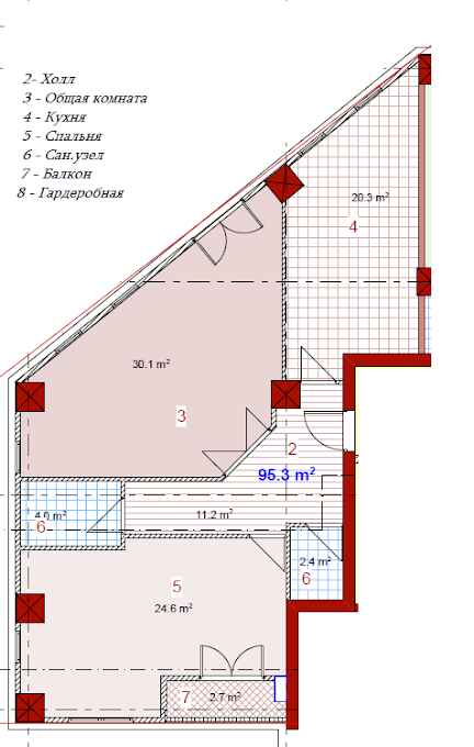 Planning of the apartment 2-bedroom apartments, 95.3 in House on Paichadze, Tbilisi