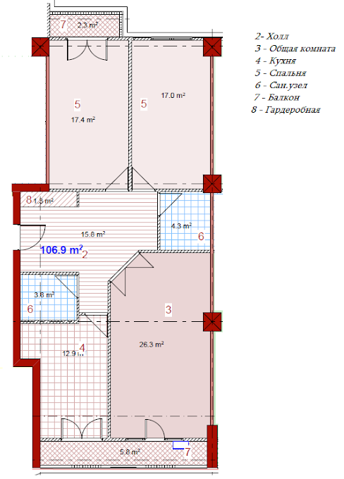 Planning of the apartment 3-bedroom apartments, 106.9 in House on Paichadze, Tbilisi