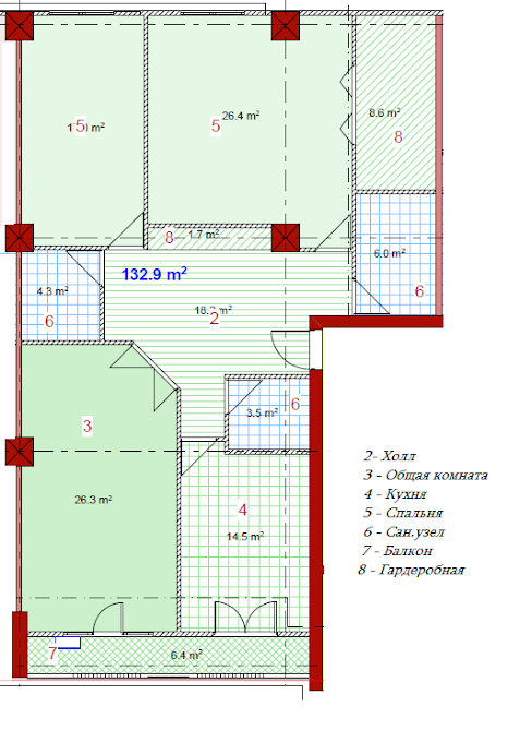 Planning of the apartment 3-bedroom apartments, 132.9 in House on Paichadze, Tbilisi