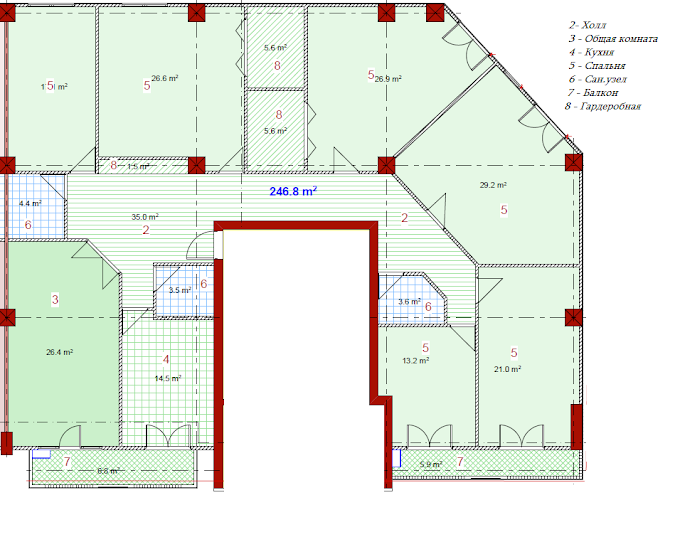 Planning of the apartment 7-bedroom apartments, 246.8 in House on Paichadze, Tbilisi