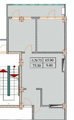 Planning of the apartment 3-bedroom apartments, 75.3 in Old Batumi, Batumi
