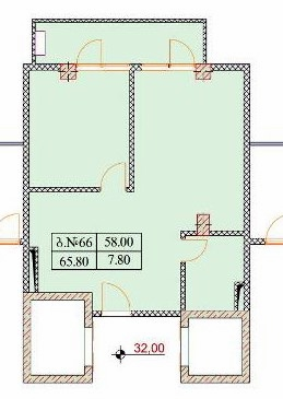 Planning of the apartment 3-bedroom apartments, 65.8 in Old Batumi, Batumi