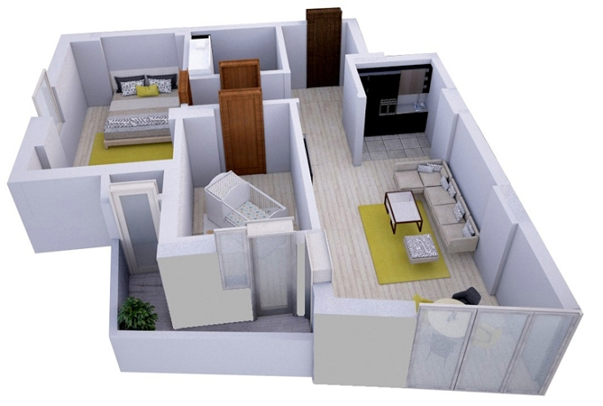 2-bedroom, from 170 751 GEL, 69.04 m2, Dona Palace Ortachala