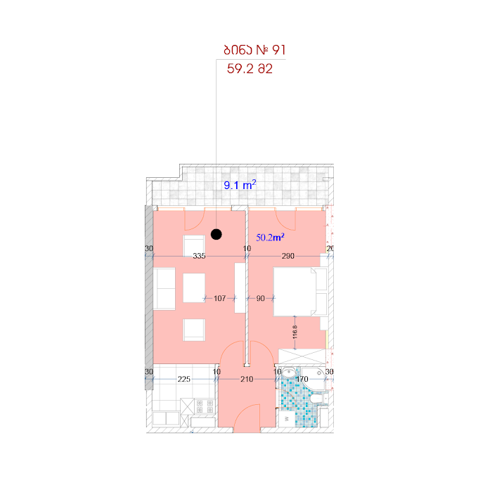 Planning of the apartment 1-bedroom apartments, 59.2 in MJM Panorama, Batumi