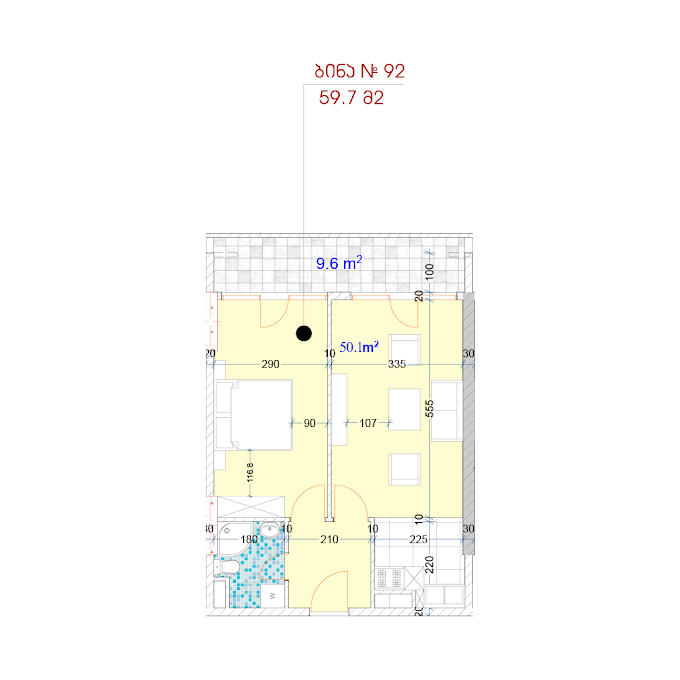 Planning of the apartment 1-bedroom apartments, 59.7 in MJM Panorama, Batumi