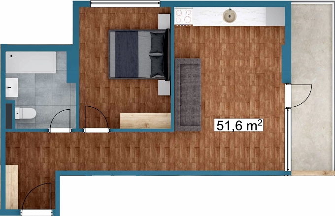 Planning of the apartment 1-bedroom apartments, 51.6 in Sunway Suites, Batumi