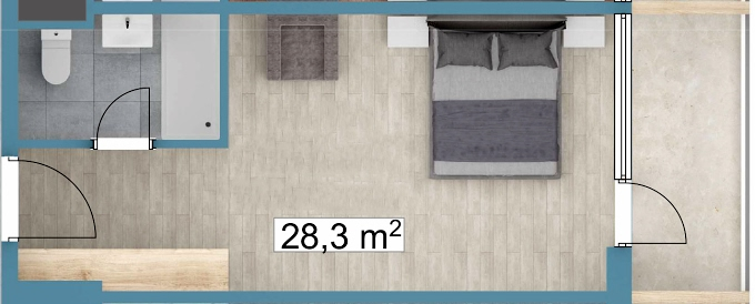 Planning of the apartment Studios, 28.3 in Sunway Suites, Batumi