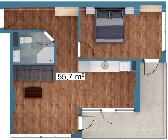 Planning of the apartment 1-bedroom apartments, 55.7 in Sunway Suites, Batumi