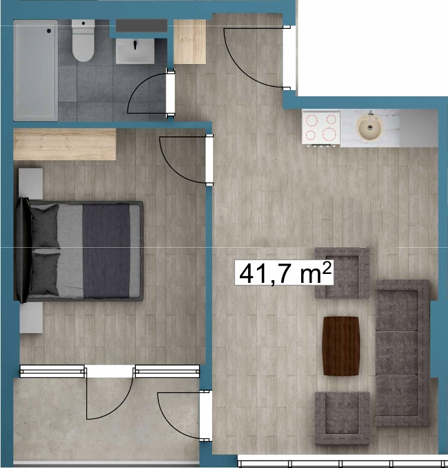 Planning of the apartment 1-bedroom apartments, 41.7 in Sunway Suites, Batumi