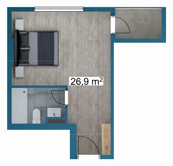 Planning of the apartment Studios, 26.9 in Sunway Suites, Batumi