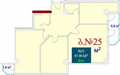 Planning of the apartment 3-bedroom apartments, 97.9 in Mardi Mall, Batumi