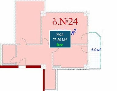 Planning of the apartment 2-bedroom apartments, 73.8 in Mardi Mall, Batumi