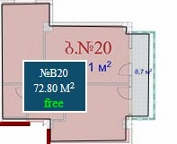Planning of the apartment 2-bedroom apartments, 72.8 in Mardi Mall, Batumi
