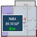 Planning of the apartment 2-bedroom apartments, 89.5 in Mardi Mall, Batumi