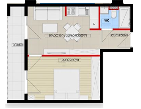 Planning of the apartment 1-bedroom apartments, 42.8 in House on Parnavaz Mepe 47, Tbilisi