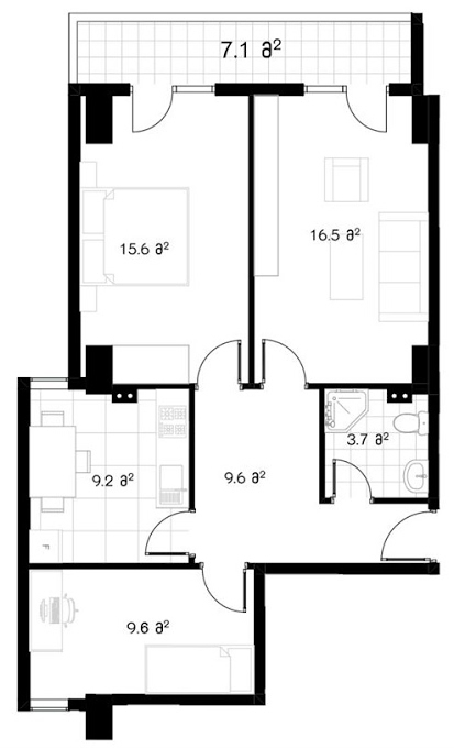 Planning of the apartment 3-bedroom apartments, 73.4 in Ji Di Group, Tbilisi