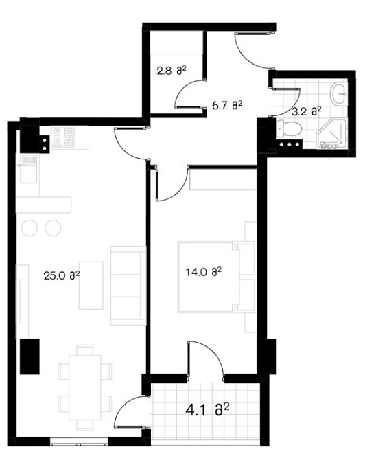 Planning of the apartment 1-bedroom apartments, 57.2 in Ji Di Group, Tbilisi