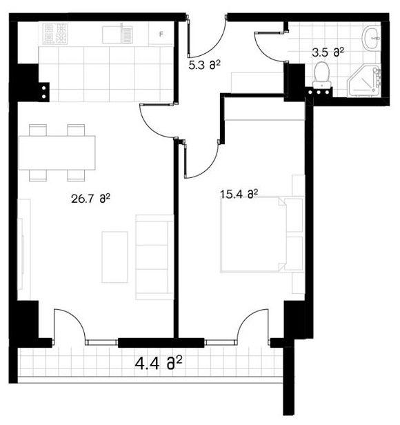 Planning of the apartment 1-bedroom apartments, 56.6 in Ji Di Group, Tbilisi