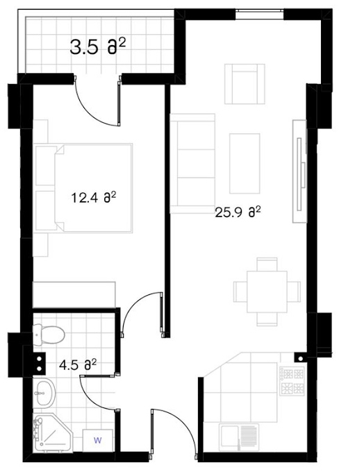 Planning of the apartment 1-bedroom apartments, 47.5 in Ji Di Group, Tbilisi