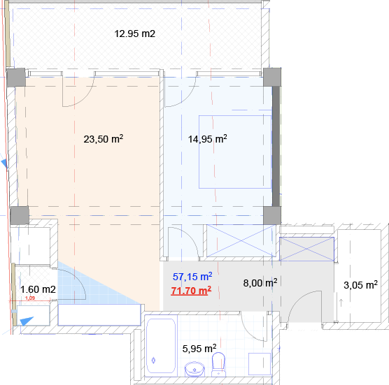 Planning of the apartment 2-bedroom apartments, 71.7 in House on Shroshi 8, Tbilisi