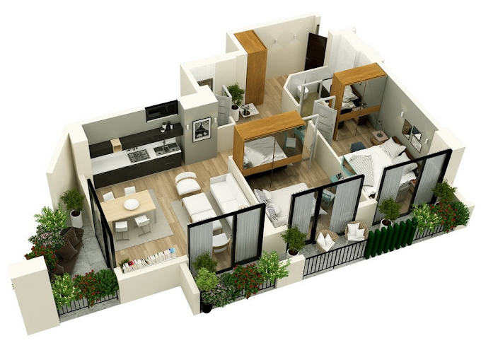 Planning of the apartment 2-bedroom apartments, 95.25 in Mindelis Diamond, Tbilisi