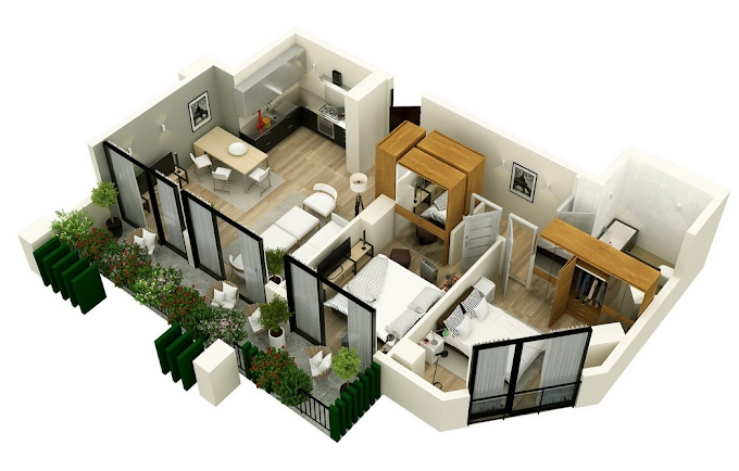 Planning of the apartment 2-bedroom apartments, 87.85 in Mindelis Diamond, Tbilisi