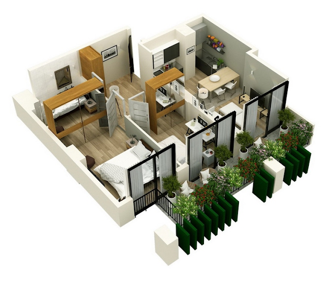 Planning of the apartment 2-bedroom apartments, 76.15 in Mindelis Diamond, Tbilisi