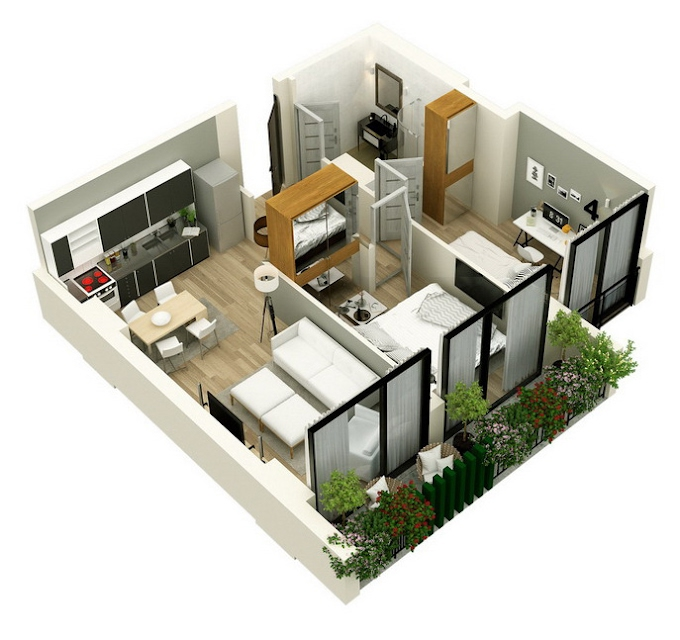 Planning of the apartment 2-bedroom apartments, 63.3 in Mindelis Diamond, Tbilisi