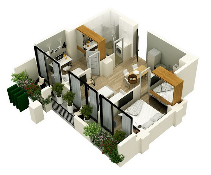 Planning of the apartment 2-bedroom apartments, 60.5 in Mindelis Diamond, Tbilisi