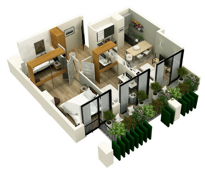 Planning of the apartment 2-bedroom apartments, 56.65 in Mindelis Diamond, Tbilisi