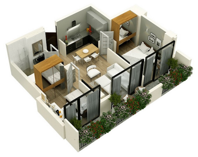 Planning of the apartment 2-bedroom apartments, 59.55 in Mindelis Diamond, Tbilisi