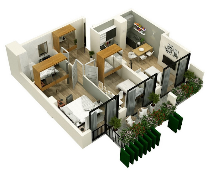 Planning of the apartment 2-bedroom apartments, 74.55 in Mindelis Diamond, Tbilisi