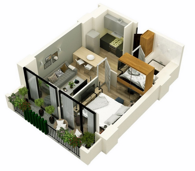Planning of the apartment 1-bedroom apartments, 45.5 in Mindelis Diamond, Tbilisi