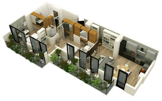 Planning of the apartment 2-bedroom apartments, 98.15 in Mindelis Diamond, Tbilisi